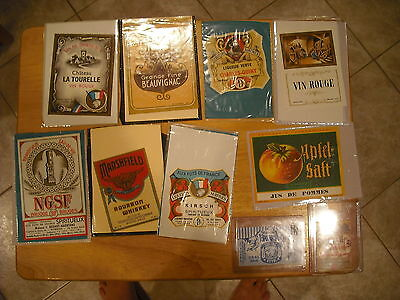 Vintage Wine, Whiskey and Liqour labels from the 1930's, Lot of 10