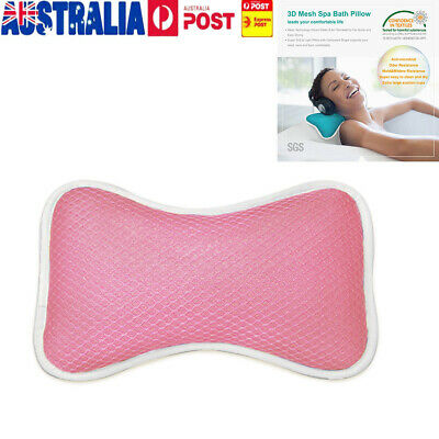 3D Mesh Spa Bath Pillow with 4 Suction Cups, Neck & Back Support - Home Hot Tub
