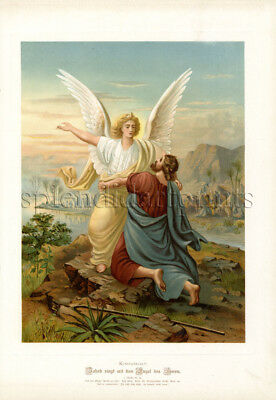 1890 Bible Master Painting #027 Jacob fights with an Angel