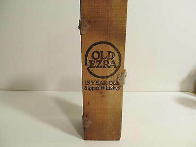 Vintage Old Ezra 15 Year old Sippin' Whiskey Wooden Box Only 1970's.