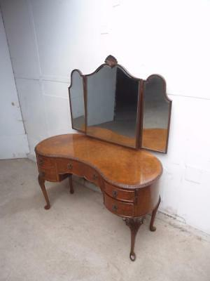An Amazing Burr Walnut Kidney Shaped 3 Mirrored Large Dressing Table