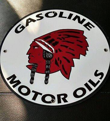 "Red Indian Gasoline gas oil sign ...~12"" round"