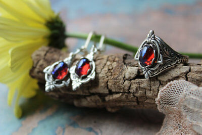 Dragon's Breath Enchanted Forest Laced Victorian Ring and Earrings Set Fall Sale