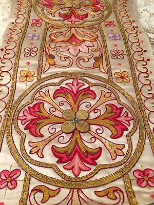 Divine Antique French Gold Wire Goldwork Embroidery Satin Silk Textile Panel