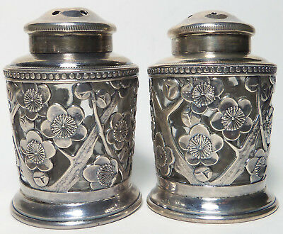 Vintage Japanese Sterling Silver Shakers ORNATE CHERRY BLOSSOM DESIGN Boxed Pair