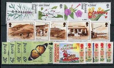 Ascension QEII 1995 various issues Butterflies Flowers Scenes Christmas MNH