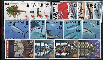 Ascension QEII 1997 various issues Trees Flags Gamefish Christmas MNH
