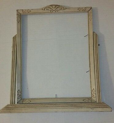 Vintage Art Deco 8x10 Wood Carved Tilt Swing Free Stand Picture Frame Shabby
