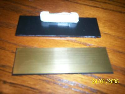 "20 Gold/black, blank name badges tags 1x3"" with pins"