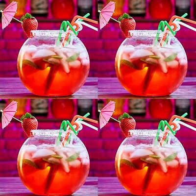 4 x LARGE COCKTAIL FISH BOWL 2.5 LITRE Drinking Fishbowl Strong Plastic Bars Set