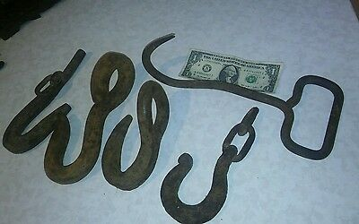 5 Antique Hand Forged Iron Hook ~ Vintage Industrial Rustic Primitive Farm Tool