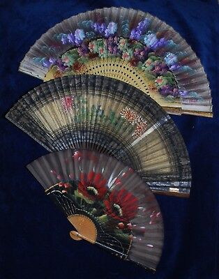 Collection of 3 Beautiful Antique/Vintage Painted Wood/Fabric Oriental Hand Fans