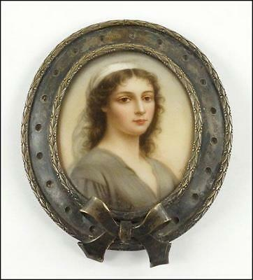 Silver Belt Buckle; Miniature Portrait Paintining.
