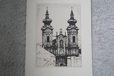 "Orig.Lithographie ""MARIENTÜRME IN LINZ"" signiert Hans Pollack"