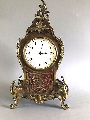 Antique French Shell & Brass Boulle Clock Ormolu Mounts Platform Movement c 1900