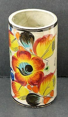 """Mexico Pottery 5"""" Painted Cup Flower Vase Gloss Grey Brown Blue Yellow Vtg Art"""