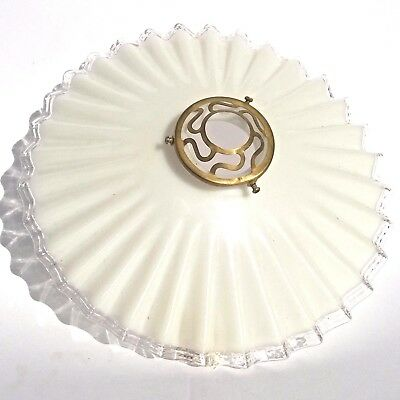 """French Ceiling Milkglass Cooly Feston White Clear Frilly Edge Light Shade 10.2"""""""