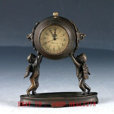 Old Brass Handcarfted angel Mechanincal Globe Clock  ZJ30