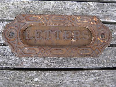 Vintage  Victorian cast iron door letterbox with word LETTERS Antique