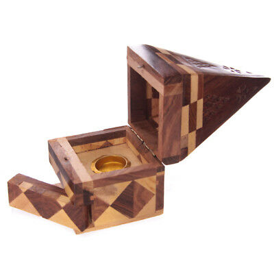 Sheesham Wood Pyramid Cone Shaped Home Fragrance Aroma Incense Burner Box IF172