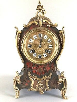 Fabrique de Paris French Boulle Mantel Clock with Pendulum & Key  Ormolu Mountsl
