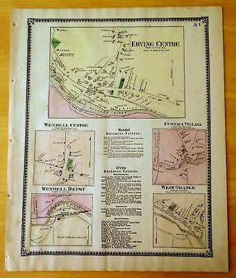 Antique Hand-Colored Map 1871 Erving Centre, Wendell Depot + MA Massachusetts