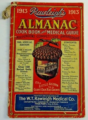Vintage 1913 Rawleighs Almanac Cook Book and Medical Guide