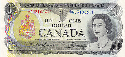 1973 Bank of Canada $1 Replacement Bank Note – *GU Series – V F +