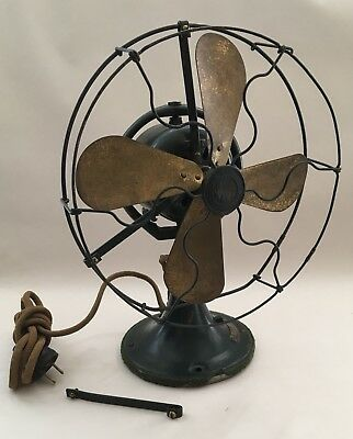 """FOR REPAIR Antique GE Whiz Table Fan 9"""" Brass Blade NP 25935 No. D97277 c.1920's"""