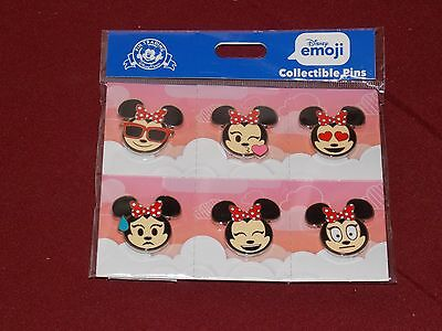 Authentic Disney Parks EMOJI MINNIE MOUSE CUTIES Trading Pin SET of 6 2017 New
