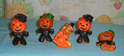 vintage Halloween GURLEY CANDLE LOT OF 5 -- scarecrow x4 & little witch
