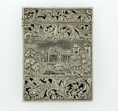 Stunning Solid Silver Double Sided  Castle Top Card Case NATHANIEL MILLS  1838