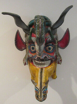Striking Vintage Guerrero Mexico Hand Carved Wood Double Dragon Folk Art Mask
