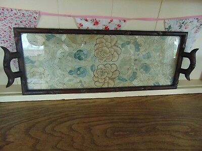1900`s Chinese Hardwood Framed Carved Like Bamboo With A Well Handmade Silk Top