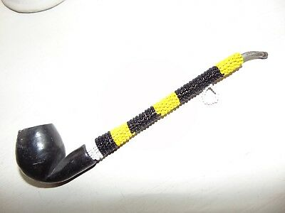 Native Indian Beaded Stemmed Pipe