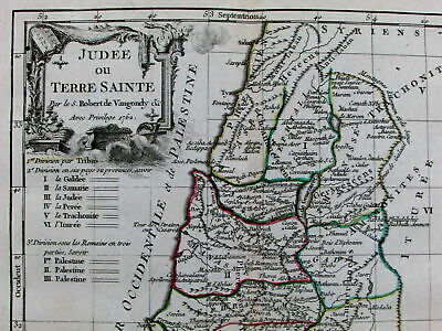 Holy Land Israel Palestine 10 Commandments Ark of the Covenant 1762 old map