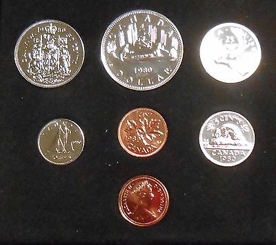 1980 Royal Canadian Mint Set 7 Piece Coin