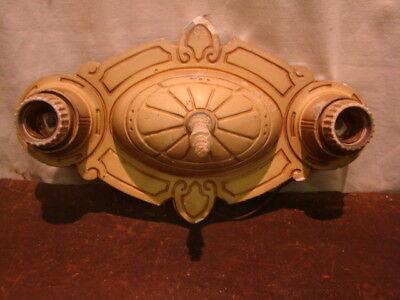ANTIQUE Victorian Nouveau Deco double SOCKET cast aluminum wall sconce ornate