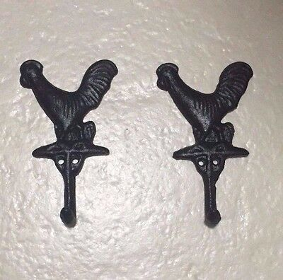 Key Hook Wall Mount Cast Iron Rooster Rustic Wall Coat/Hat Rack Black Set of 2