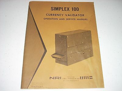 SIMPLEX 100 NRI Currency Validator Coin Changing MANUAL 50 pages original