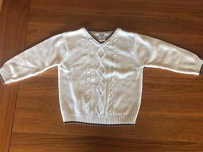 Gymboree White CABLE KNIT COTTON SWEATER BROWN TRIM  2T