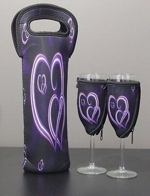 Purple Heart bottle carrier and 2 x champagne glass coolers