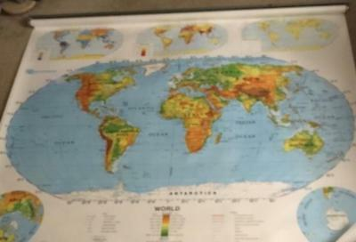 Nystrom Two Layer World US Pull Down School Wall Map 1SR991 65 x 56
