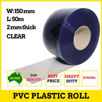 Clear PVC Roll - 50m 150x2mm Strip for PVC Strip Curtains Plastic Door Curtain
