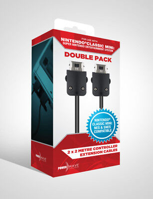 Powerwave Classic Mini SNES Controller Extension Cables 2M (Double Pack) - Brand