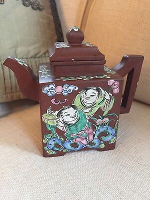 Antique Yixing Terracotta Clay Chinese Teapot Lid Figures Pottery Redware Signed
