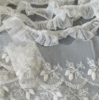 """Vintage Creamy Embroidered LACE Trim + RUFFLES 1"""" - 2.5"""" Wide X 100+"""" * DOLLS"""