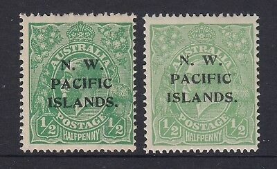 NWPI   KGV   1/2d Green mint pair  2 wmks and 2 shades