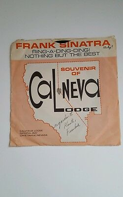 Rare Frank Sinatra Record  Souvenir of Cal Neva Lodge 1960's Crystal Bay Nevada