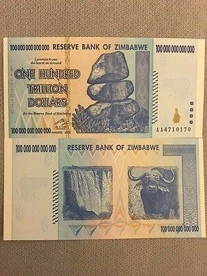 Zimbabwe 100 Trillion Dollars, AA /2008, P91, Un-Circulated Paper Currency
